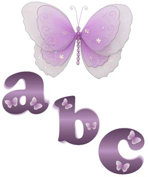 Purple Butterfly Alphabet Wall Letter Name Stickers-girls, nursery, room, decor, decorations, wall letters, mural stickers, alphabet letters, wall stickers, butterfly mural, letters,wall,name,art,hanging,letter,nursery,bedroom,room,girls,stickers,sticker,butterfly